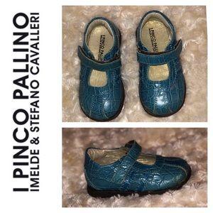 I Pinco Pallino Shoes - Blue Crocodile Mary Janes